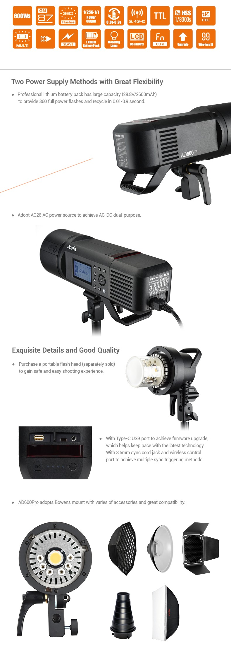 Godox AD600Pro Two power Supply Methods with great Flexibility. AC26 AC-DC power adapter. Dual Purpose. Exquisite Details and Good Quality. AD600Pro Bowens mount.