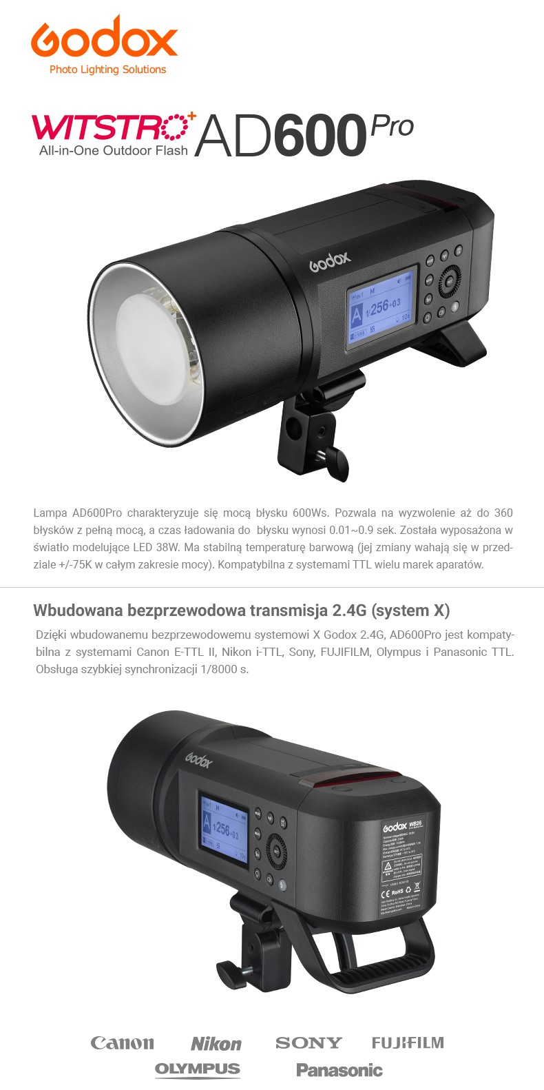 Godox Witstro AD600Pro All-in-one Outdoor Flash. Wbudowana bezprzewodowa transmisja 2.4G System X. Moc błysku 600Ws, wydajna bateria, stabilna temperatura barwowa.
