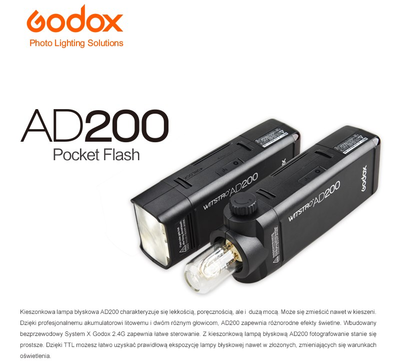 AD200 Pocket flash AD200 kieszonkowa lampa TTL Godox System X 2.4G
