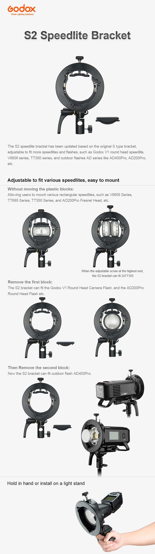 Godox S2 Speedlite Brakcet, adjustable to fit various speedlites, easy to mount. Hold in hand or instal on a light stand.