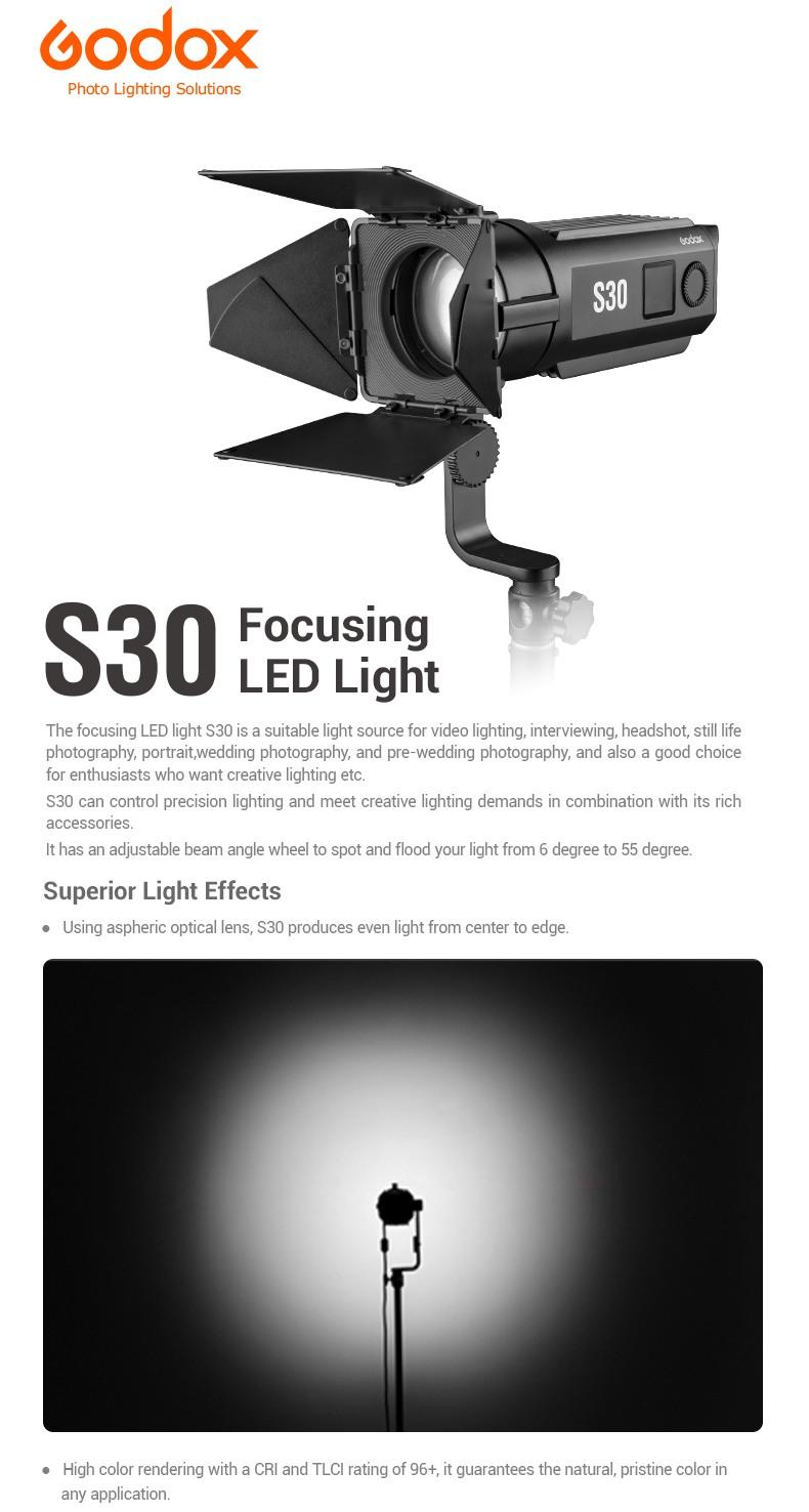 Godox S30 Focusing LED Light. Superior Light Effects. Aspherical optic lens