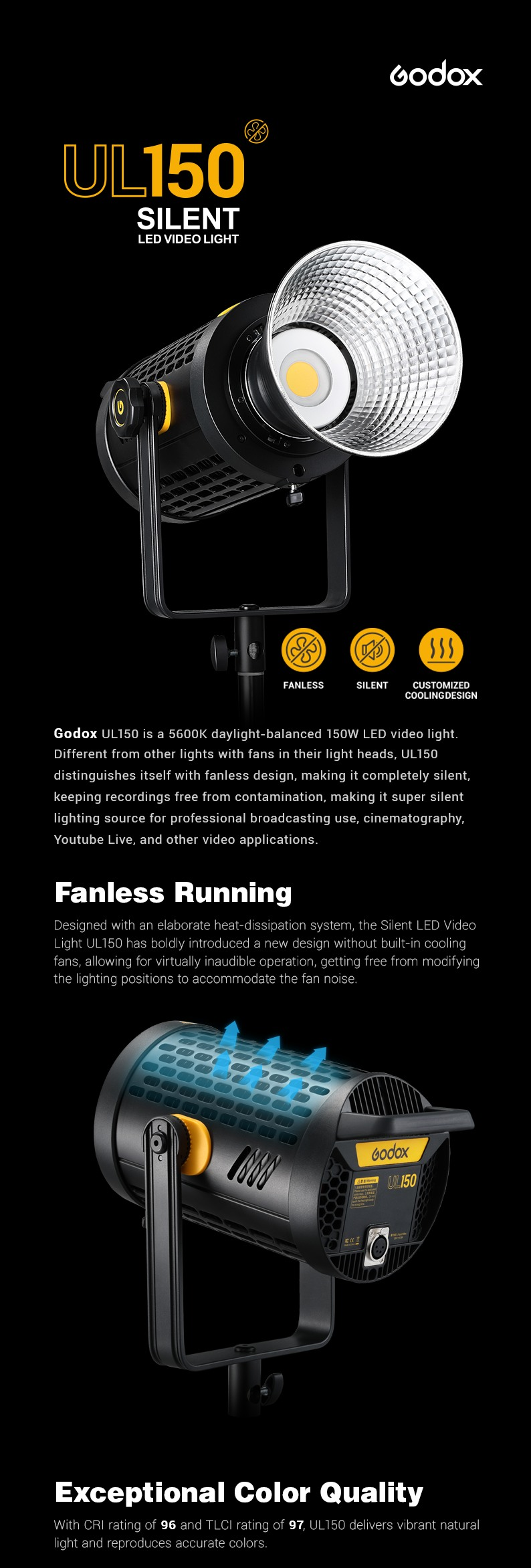 Godox UL150 silient light. Fanless Running. Exeptional Color Quality.