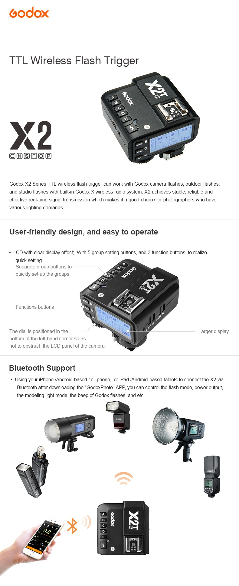 Godox X2 TTL Wireless Flash Trigger, X2T User-friendly design and easy to operate. Bluetooth Support.