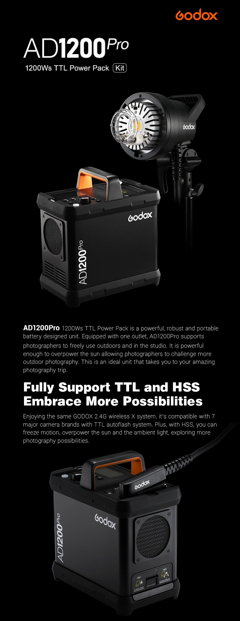 Godox AD1200Pro 1200Ws TTL Power Pack Kit. Fully Support TTL and HSS. Embrance More Possibilities. Battery Pack and flash light.