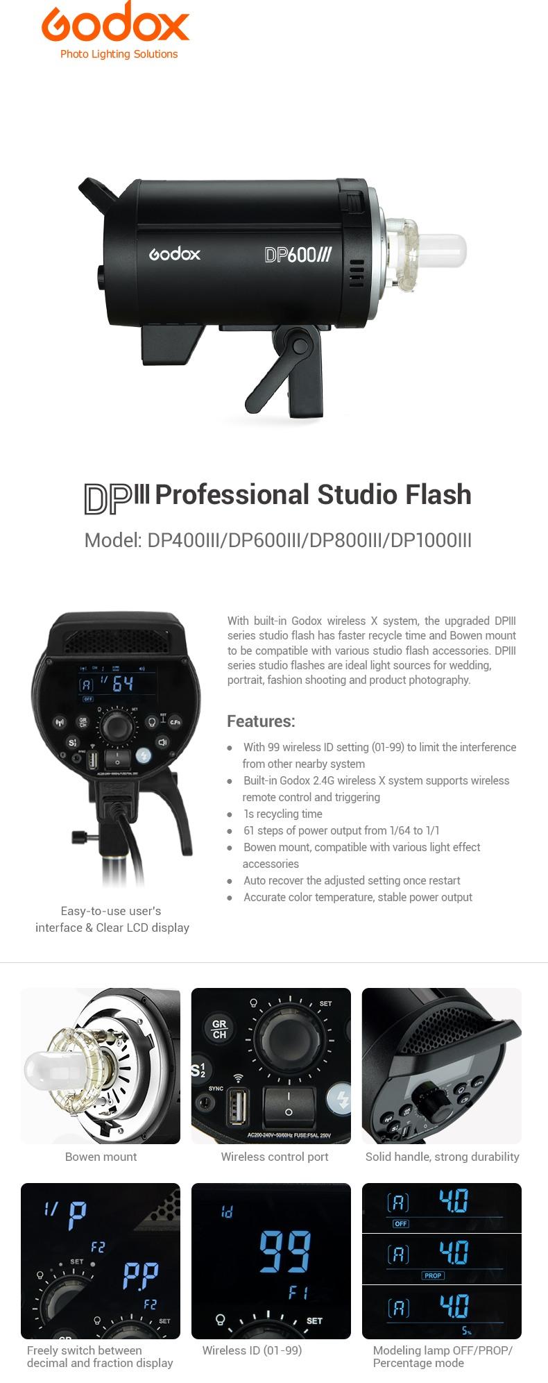 Godox DP III Professional Studio Flash. Model: DP400III, DP600III, DP800III, DP1000III. Features, LCD panel.