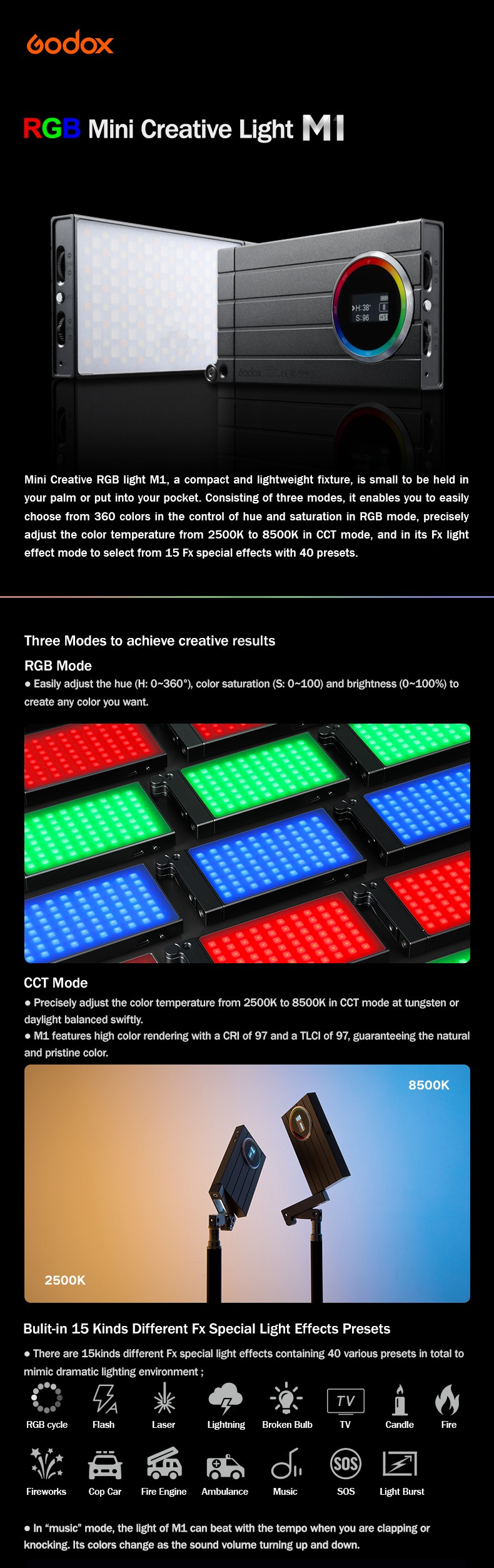 Godox M1 RGB Mini Ceative Light.  Three modes to achieve creative results. RGB mode, CCT mode, Built-in 15 kinds  different  FX effect presets.