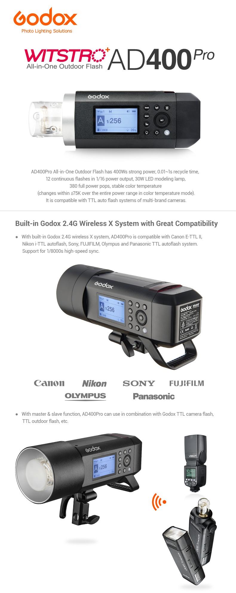 Godox Witstro AD400Pro All-in-One Outdoor Flash. Built-in Godox 2.4G Wireless X system. High compability - Canon, Nikon, Sony, Fuji, Olympus, Panasonic.