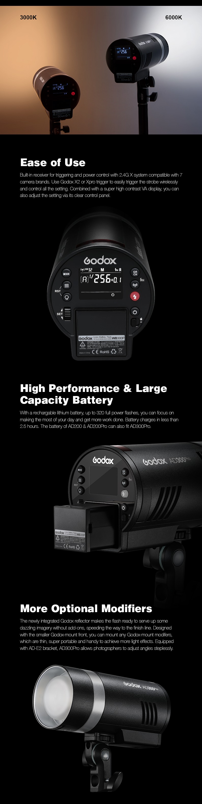 Godox AD300Pro. 3000K-6000K. Ease of Use. High Performance and Large Capability Battery. More Optional Modifiers