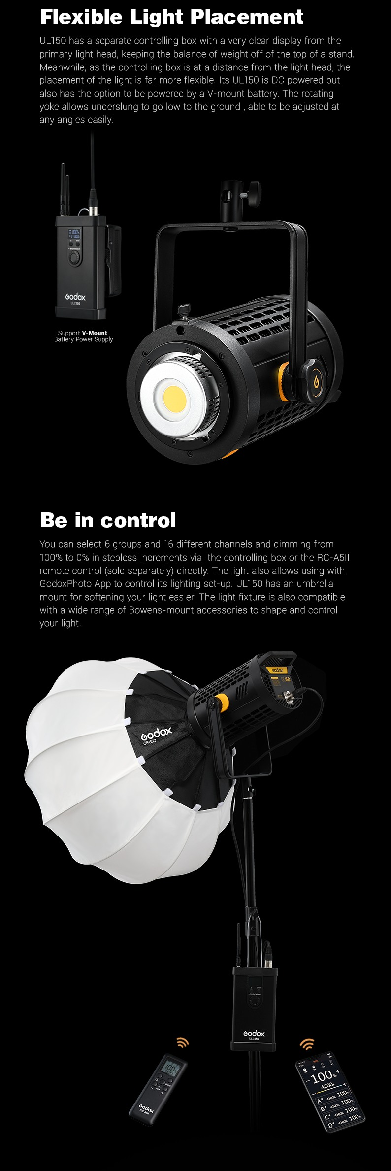 Godox UL-150 Flexible Light Placement. Be in control.