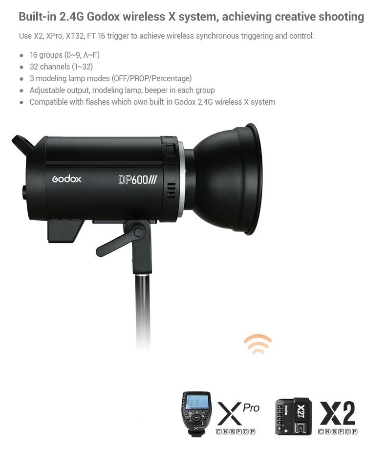 Godox DPIII series. Built-in 2.4G Godox wireless X system, achieving creative shooting.