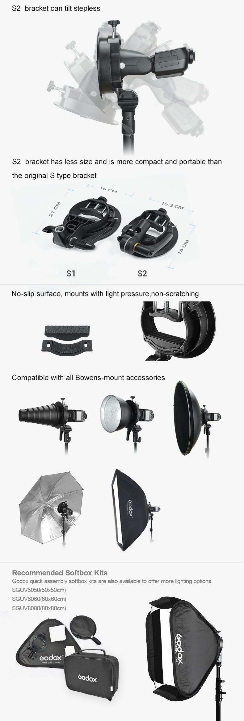 Godox S2 Speedlite. S2 bracket can tilt stepless. S2 is more compact and portable than S1 type bracket. Recommended Softbox kits.