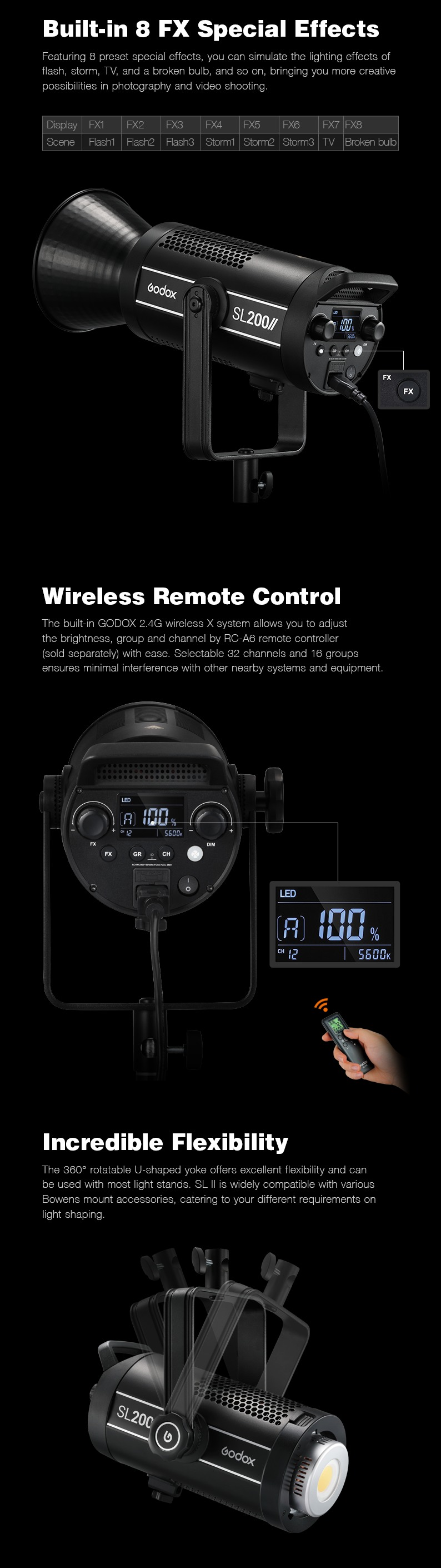 Godox SL series Built-in 8 FX Special Effects. Wireless Remote Control. Incredible Flexbility.