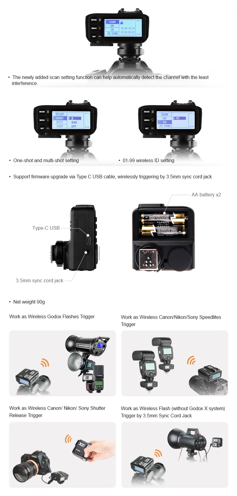Godox X2T, features, wireless communications.