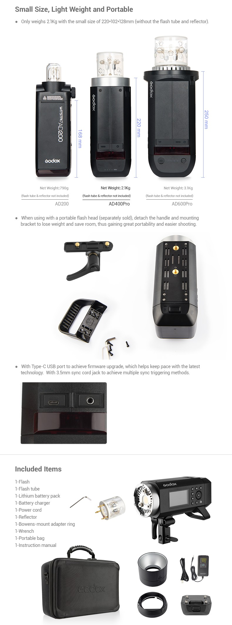 Godox AD400Pro Small sizes, Lightweight and portable. Included items.