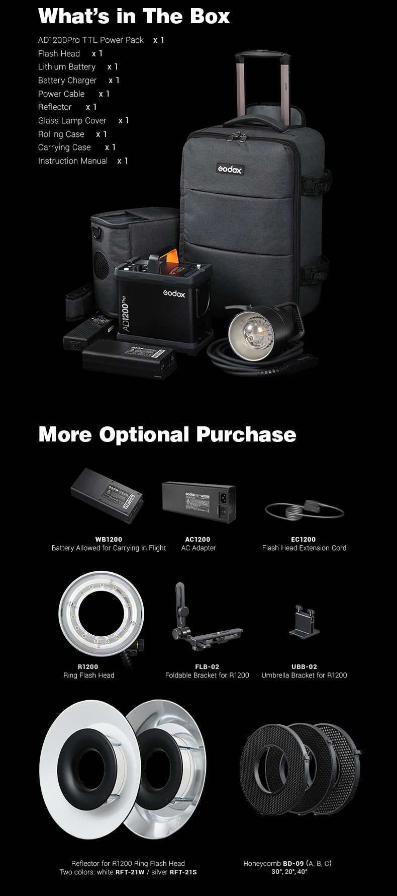 Godox AD1200Pro 1200Ws TTL Power Pack Kit. What is in the box, kit accesories. More optional purchase.