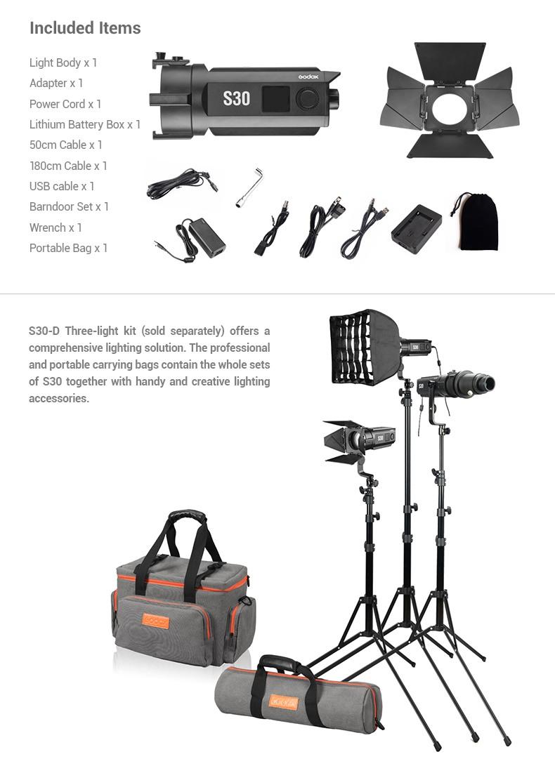 Godox S30 LED Included Items. S30-D Three-light kit.