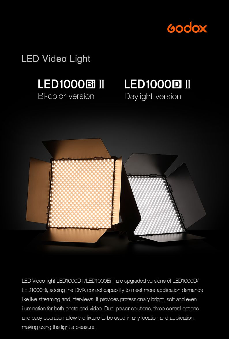 Godox LED Video Light. LED1000bi Bi-color Version II LED 1000D II Daylight version. DMX control LED Panels