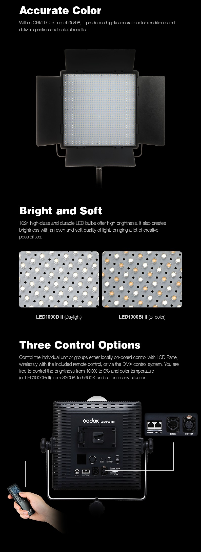 Godox LED1000II series. Accurate Color, Bright and Soft, Three Control Options.