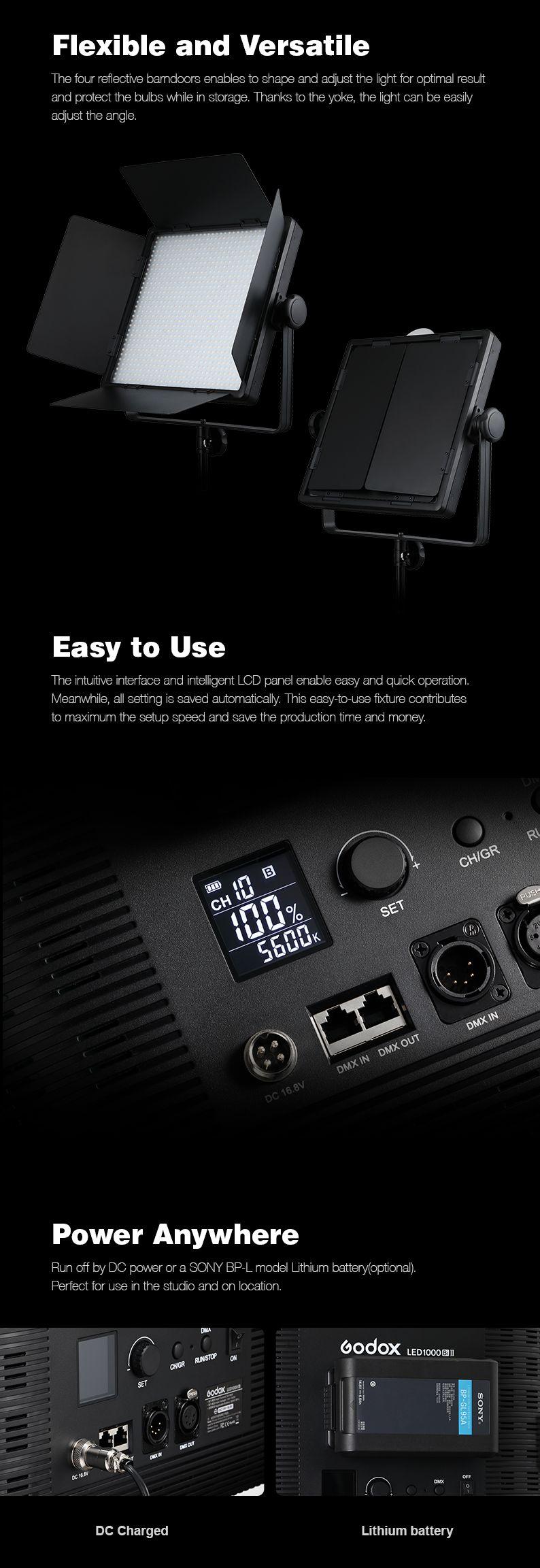 Godox LED1000 II Flexible and Versatile. Easy to Use. Power Anywhere.