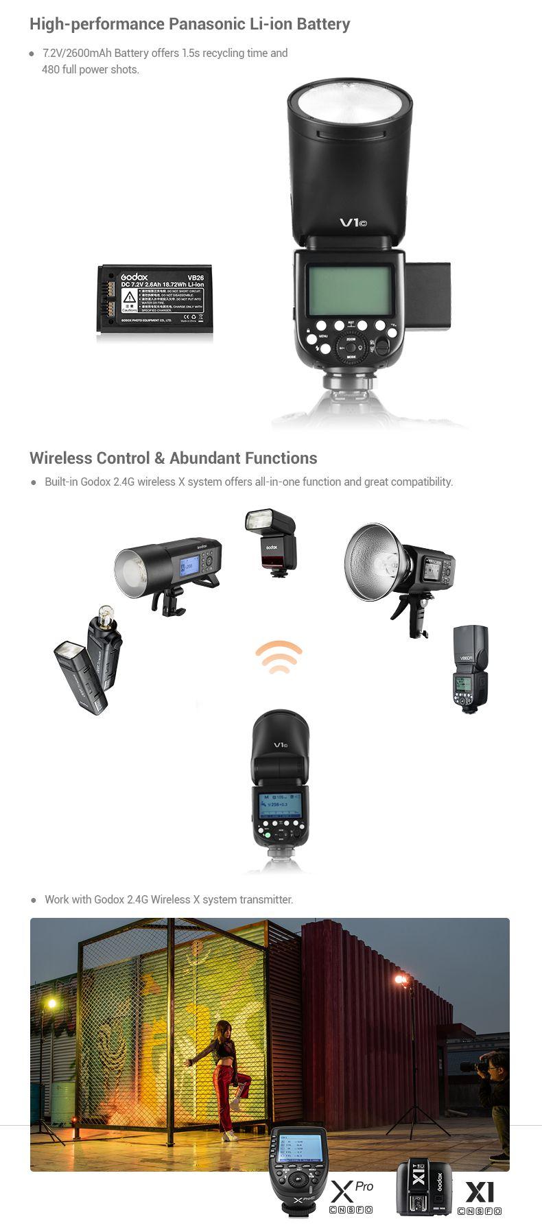 Godox V1 High-performance Panasonic Li-ion Battery. Wireless Control and Abundant Functions