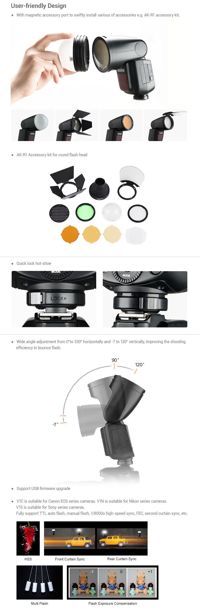 Godox V1 round head flash - User Friendly Design. Wide angle adjustment.