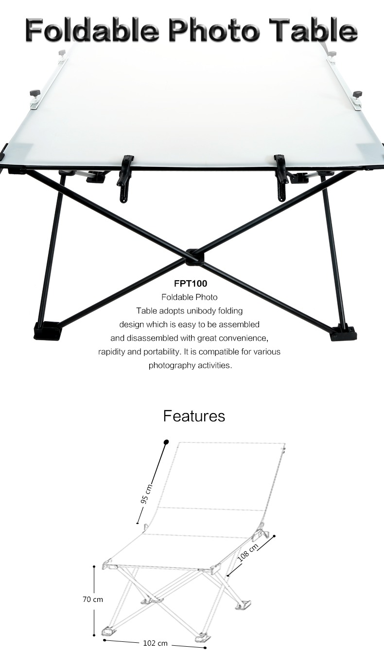 Godox Foldable Photo Table FPT100 sizes and features