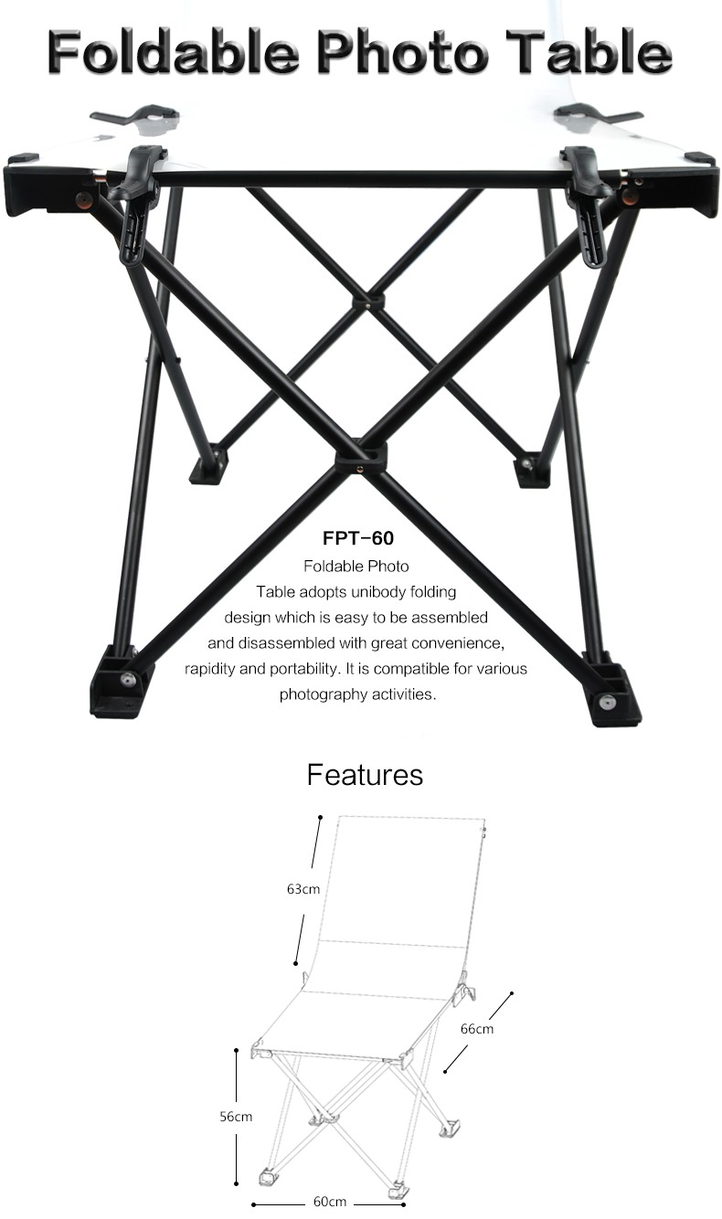 Godox Foldable Photo Table FPT sizes and features.
