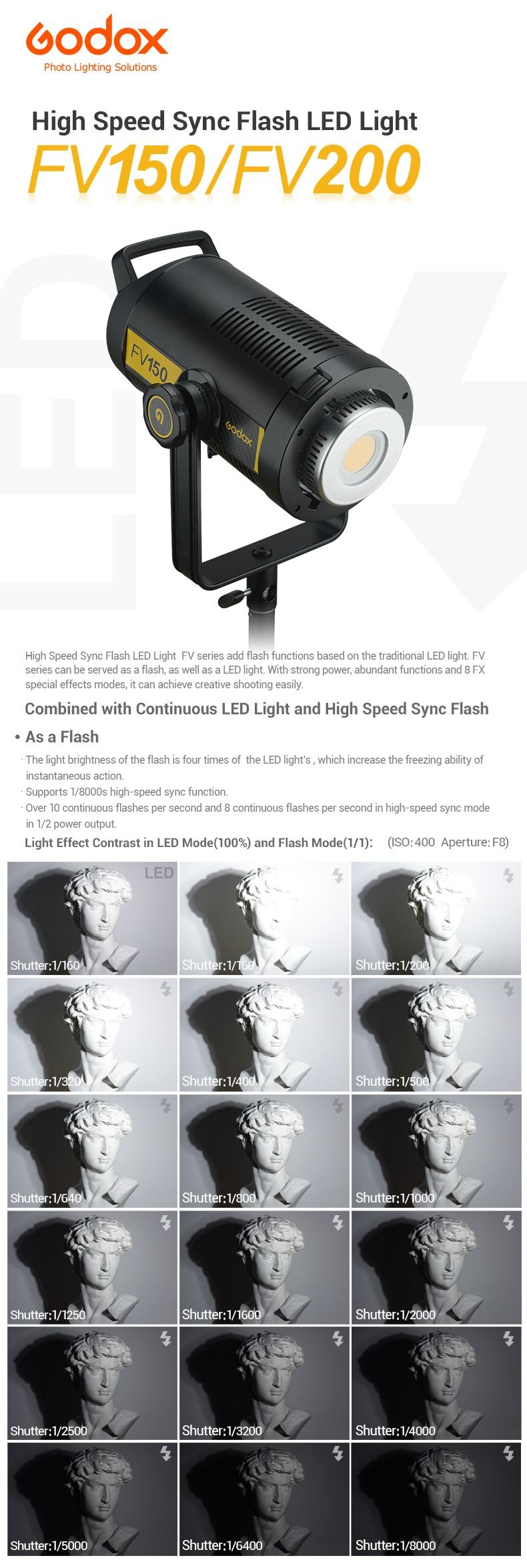 Godox High Speed Sync Flash LED Light FV150/FV200 As a Flash As a LED Light