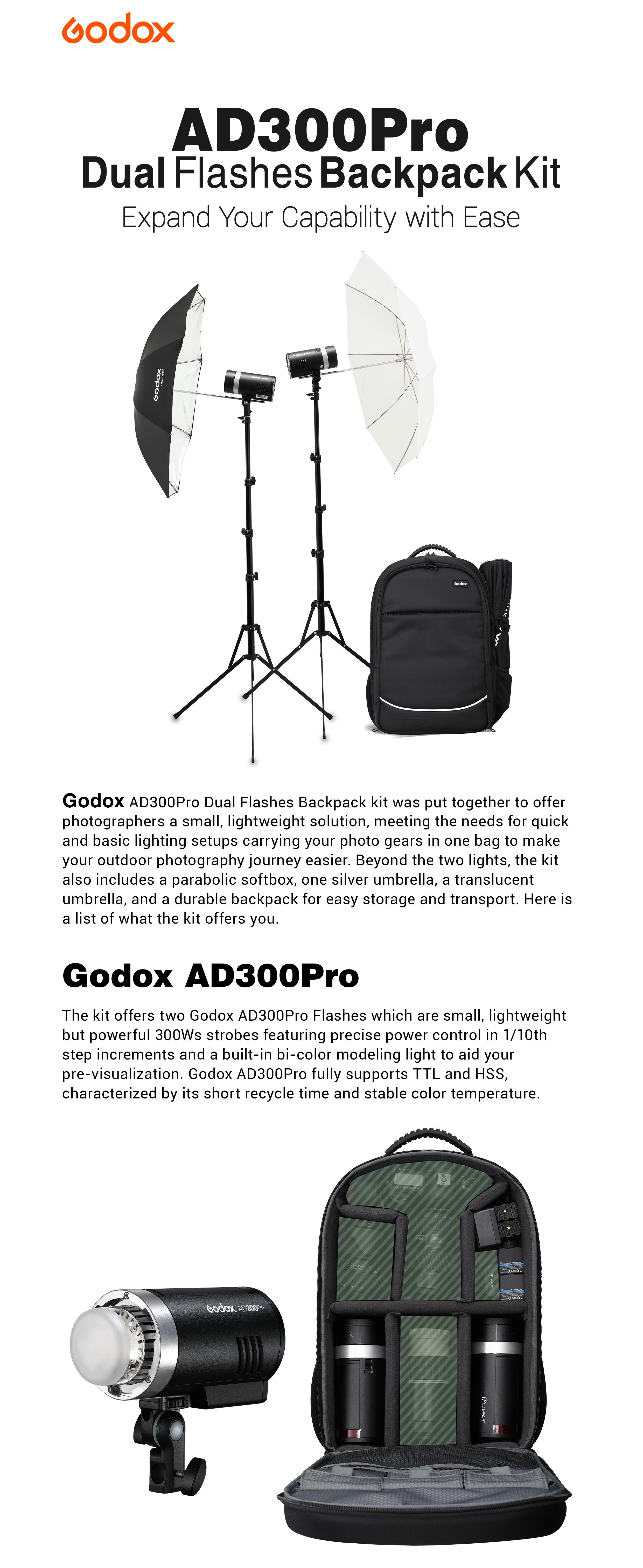 Godox AD300Pro Dual Flashes Backpack Kit. Expand Your Capability. Godox AD300Pro.