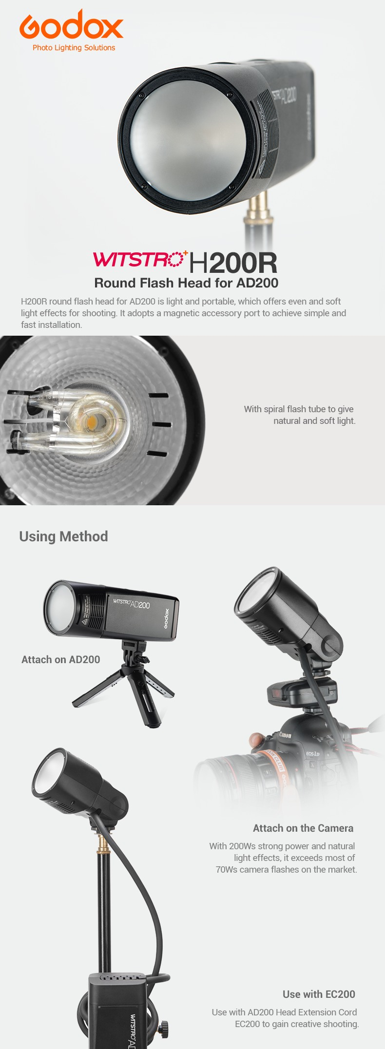 Godox H200R Round Flash Head for AD200  Using Methods, usage iwth EC200