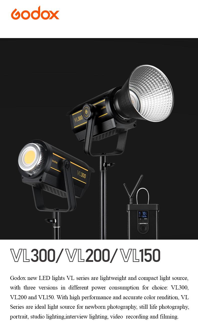 Godox VL150 VL200 VL300 LED Light VL series. Lightweight and compact light source.