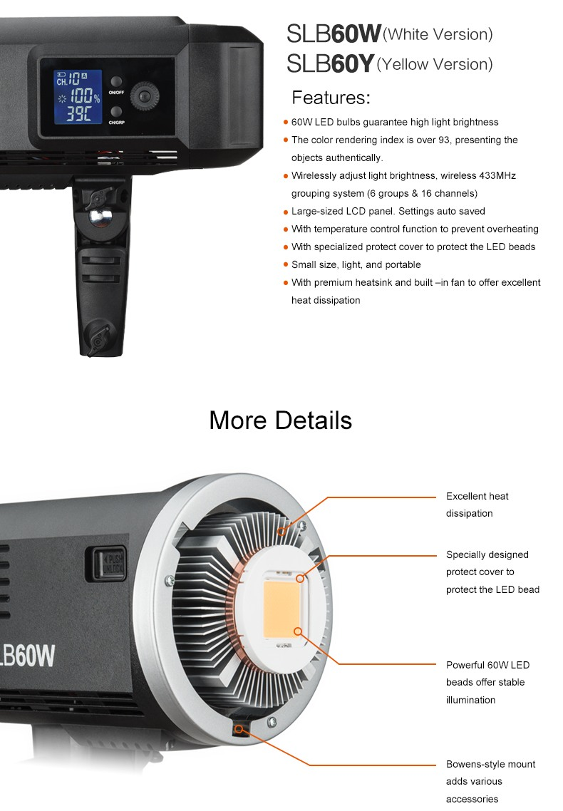 Godox Video Light SLB60 features and details, light interior