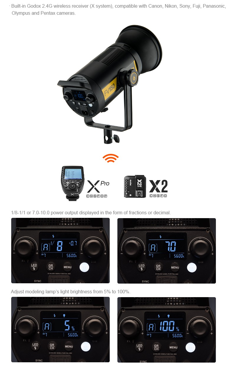 Godox FV150 and FV200 Wireless reciver (X system) compability with remote triggers. XPro X2