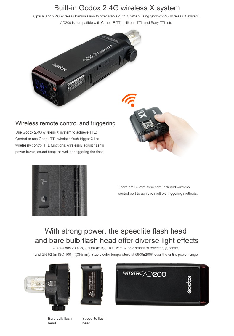 Godox AD200 Built-on 2.4G wireless X system wireless remote control and triggering Flash head and bare bulb