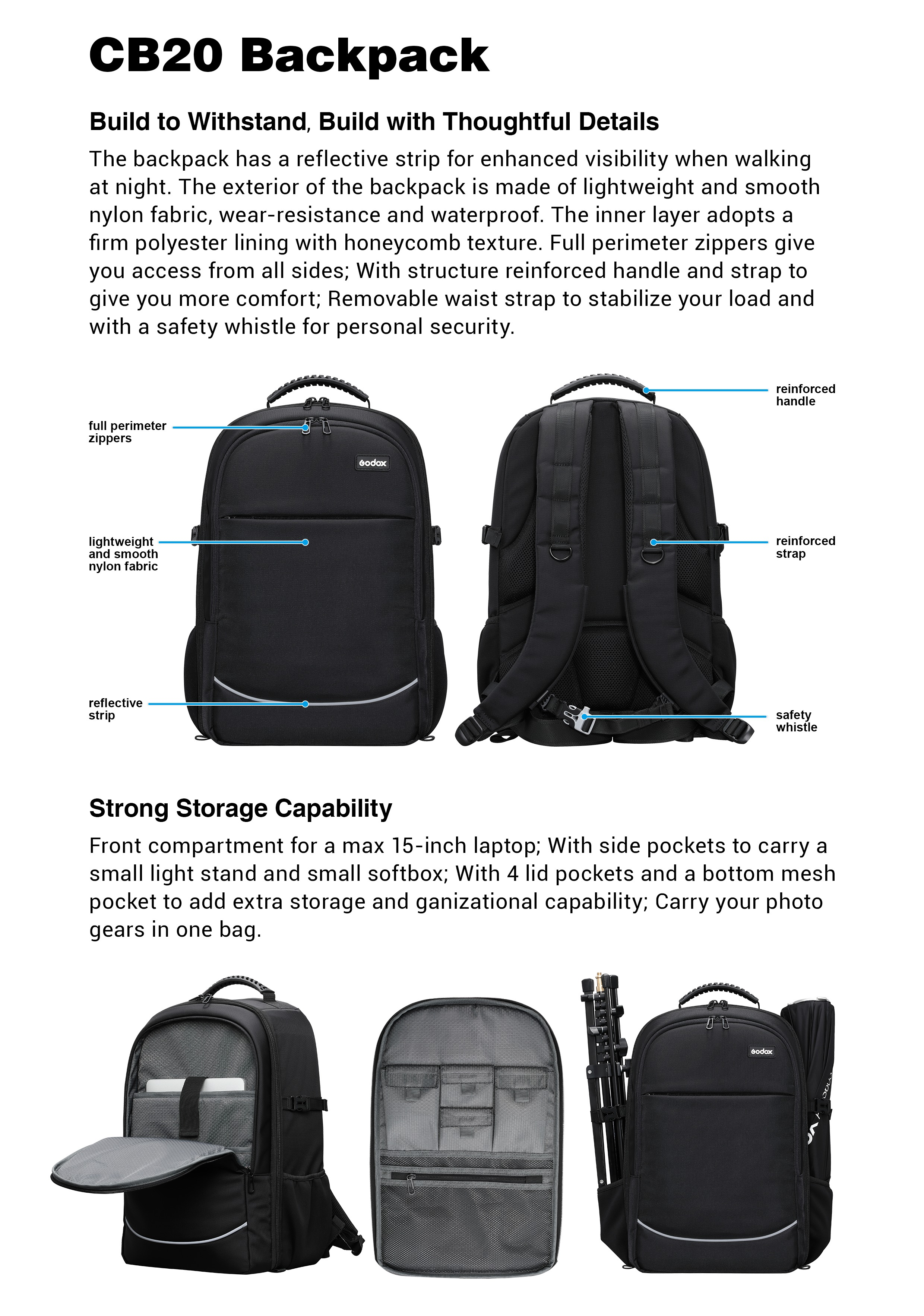 Godox CB20 Backpack. Build to Withstand. Build with Thoughtful Details. Strong Storage Capability.