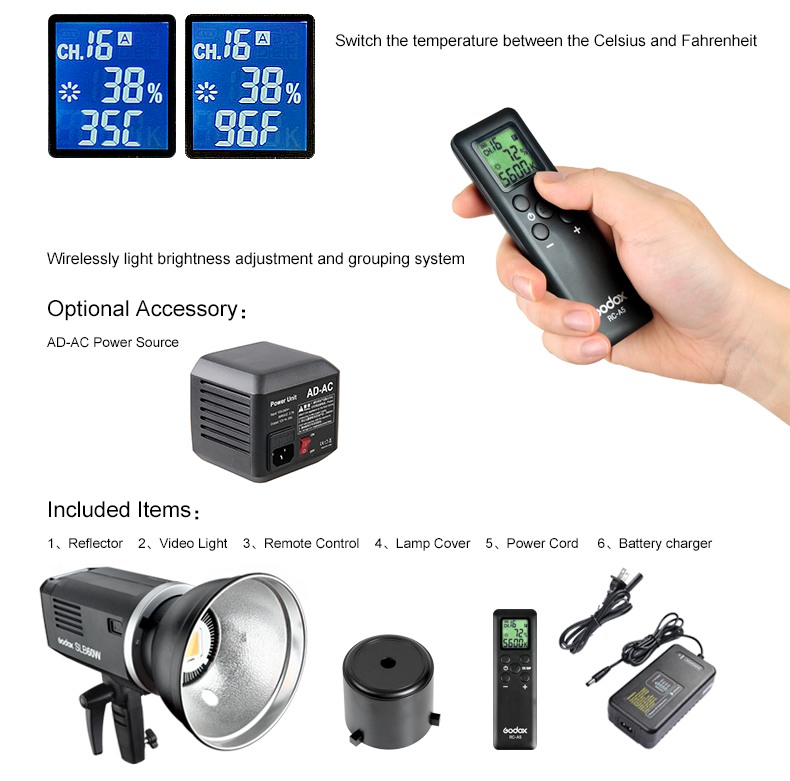 Godox SLB60 temperature, AD-AC adapter, Radio Control, Included items