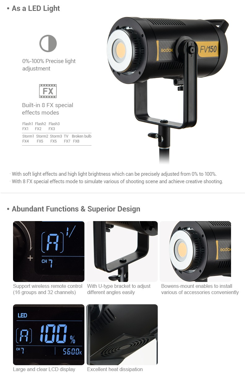 Godox FV150 as a LED Light, Abundant Functions and Superior Design