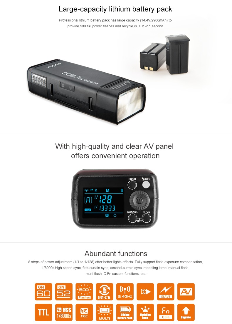 Godox AD200 Large capacity lithium battery pack and clear AV Panel, Abundant functions