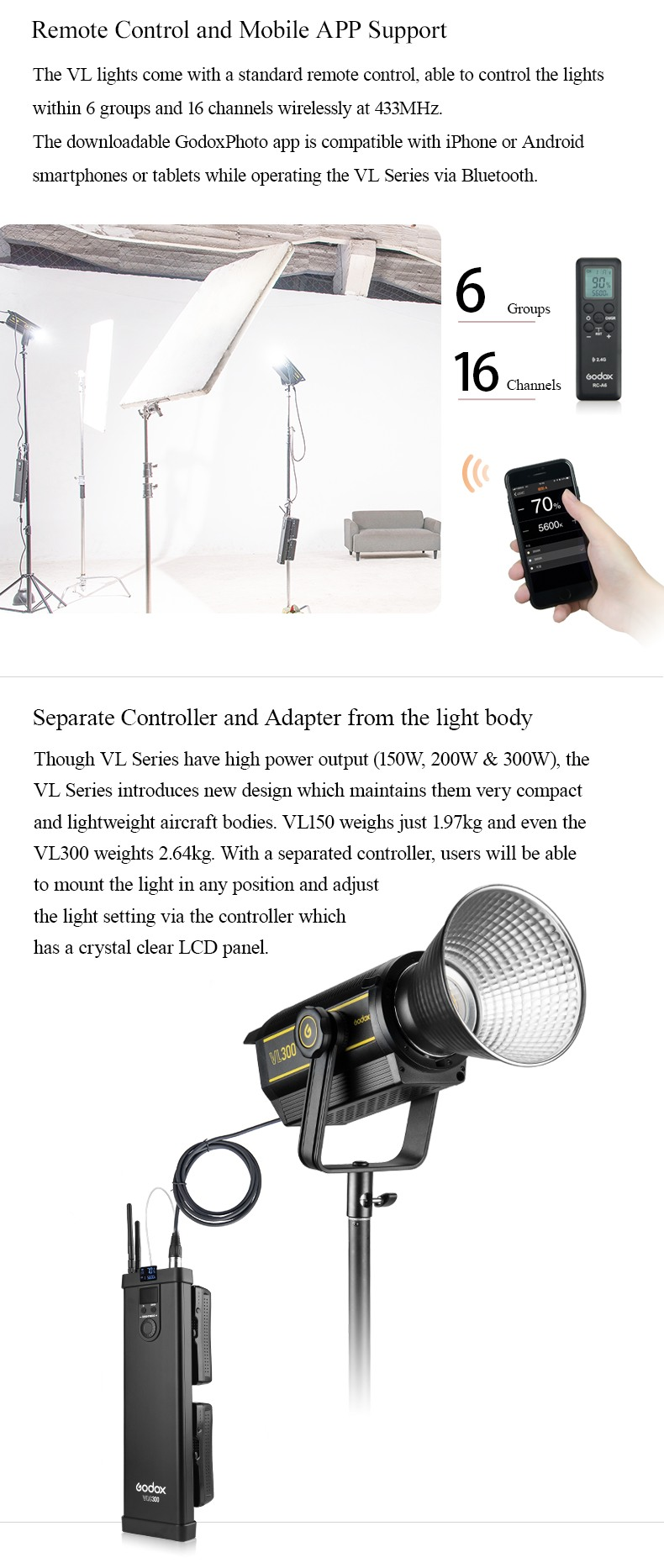 Godox VL series Remote Control and Mobile App Supper.