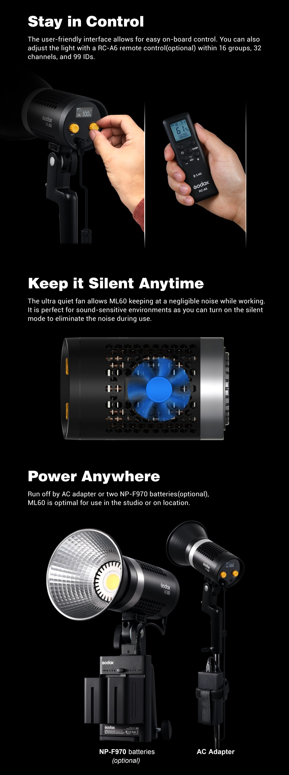 Control panel, Radio Control, Silient Fan, Battery Options. Godox ML60.