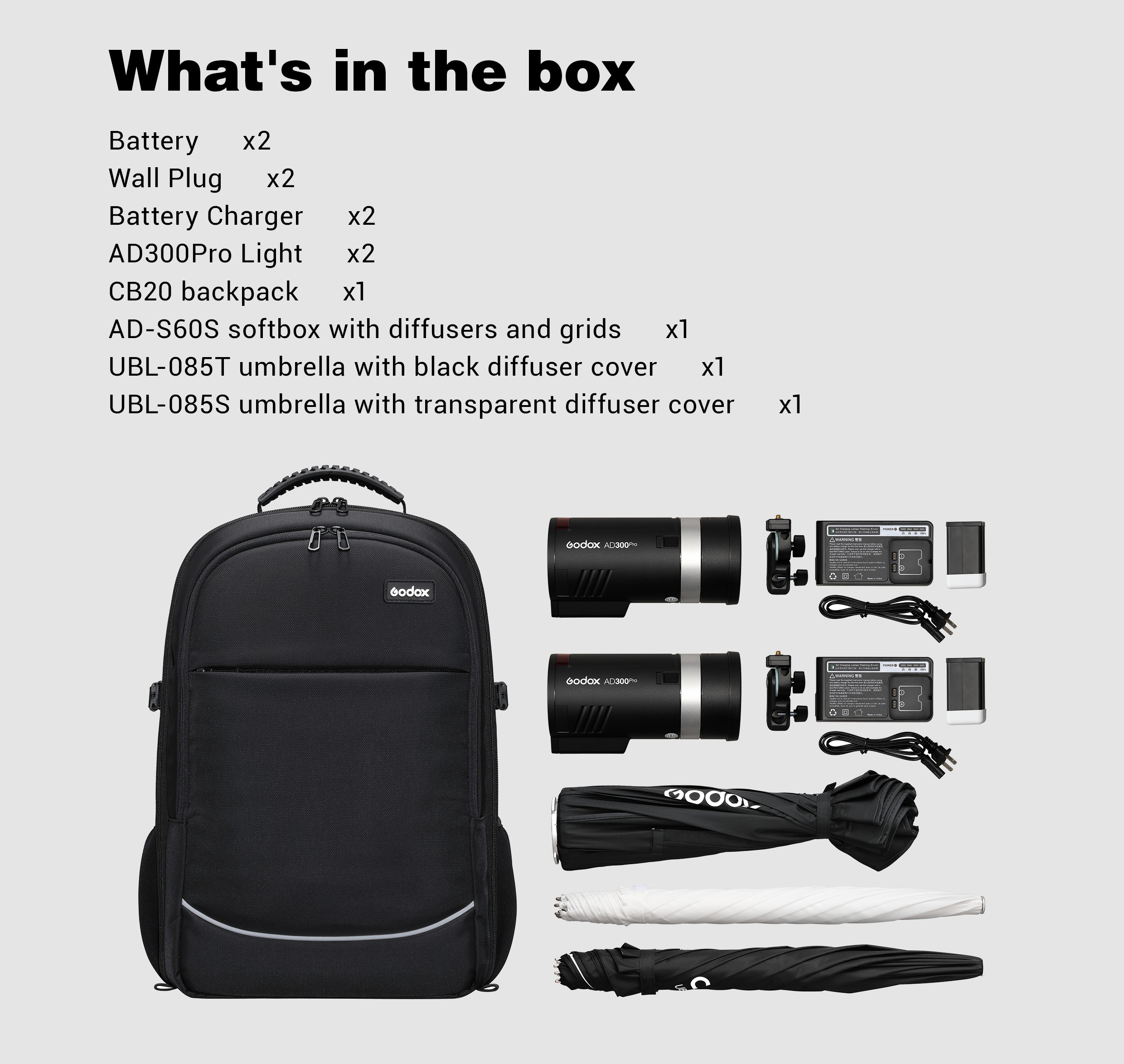 What`s in the box. Godox 2x AD300Pro.