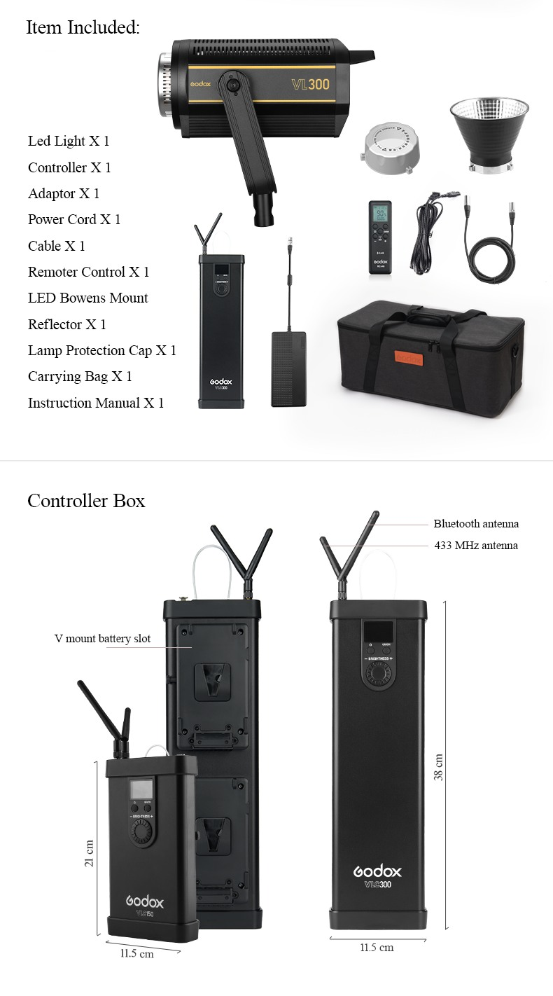 Godox VL series Items included in package. Controller Box