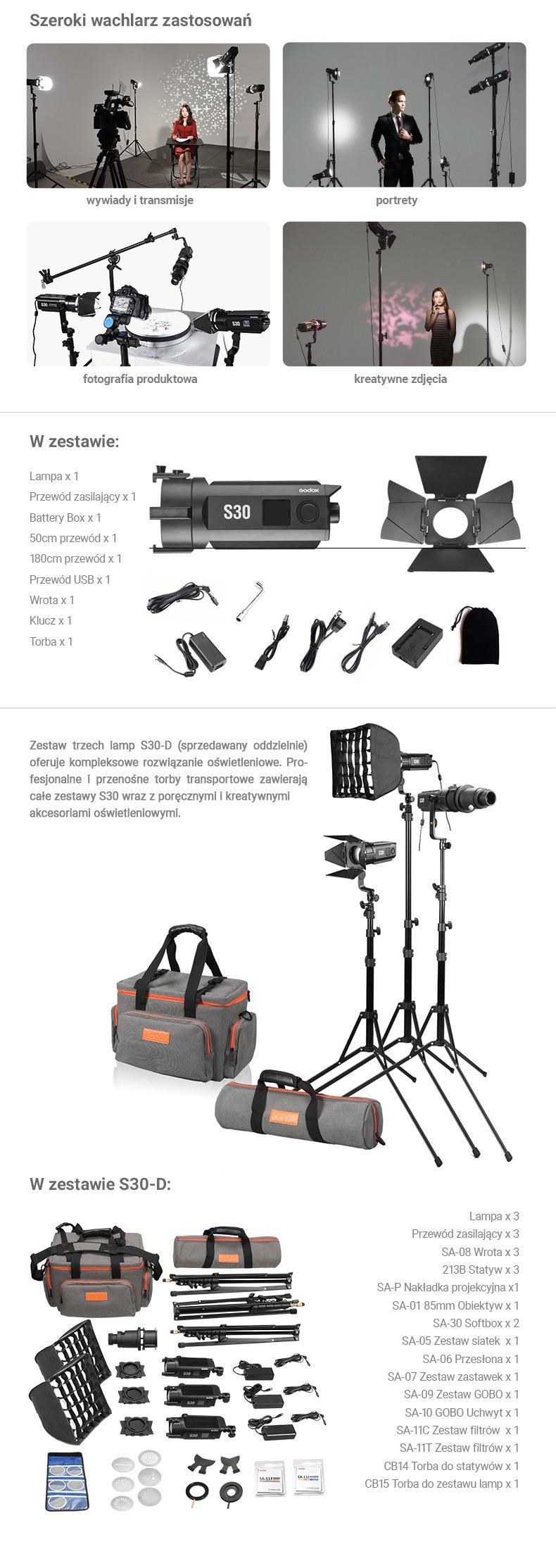Godox S30 LED - szeroki wachlarz zastosowań. W zestawie: Lampa, wrota, zasilacz. Do fotografii produktowej, portretu, kreatywnego świetlenia, transmisji, wideo. Zestaw S30D zawiera trzy lampy S30.