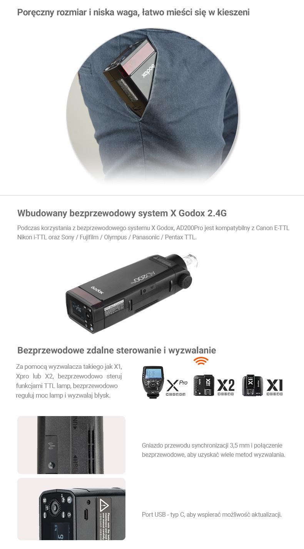 Godox AD200Pro. Poręczny rozmiar i niska waga, łatwo mieści się w kieszeni. Wbudowany bezprzewodowy system X Godox 2.4G. Bezprzewodowe zdalne sterowanie i wyzwalanie z nadajnikami Xpro, X2T, X1