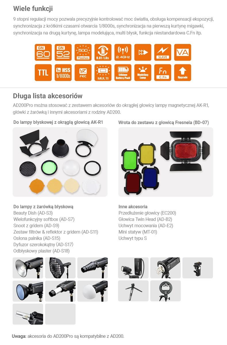 Godox AD200Pro. Wiele funkcji, długa lista akcesoriów. Do lampy błyskowej z okrągłą głowicą i wrota do zestawu z głowicą fresnela.