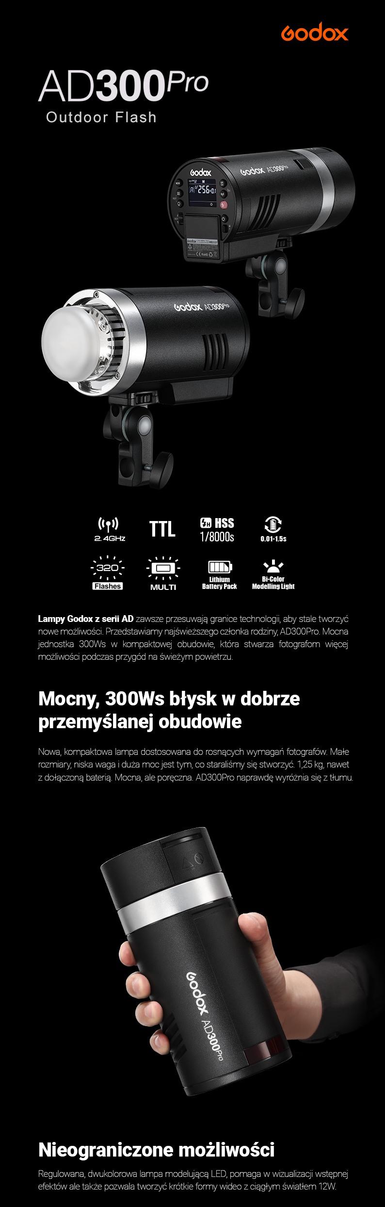 Godox AD300Pro Outdoor Flash. Mocny 300Ws błysk w dobrze przemyślanej obudowie. Nieograniczone możliwości. Obsługa TTL, wbudowany system bezprzewodowy Godox 2.4G X