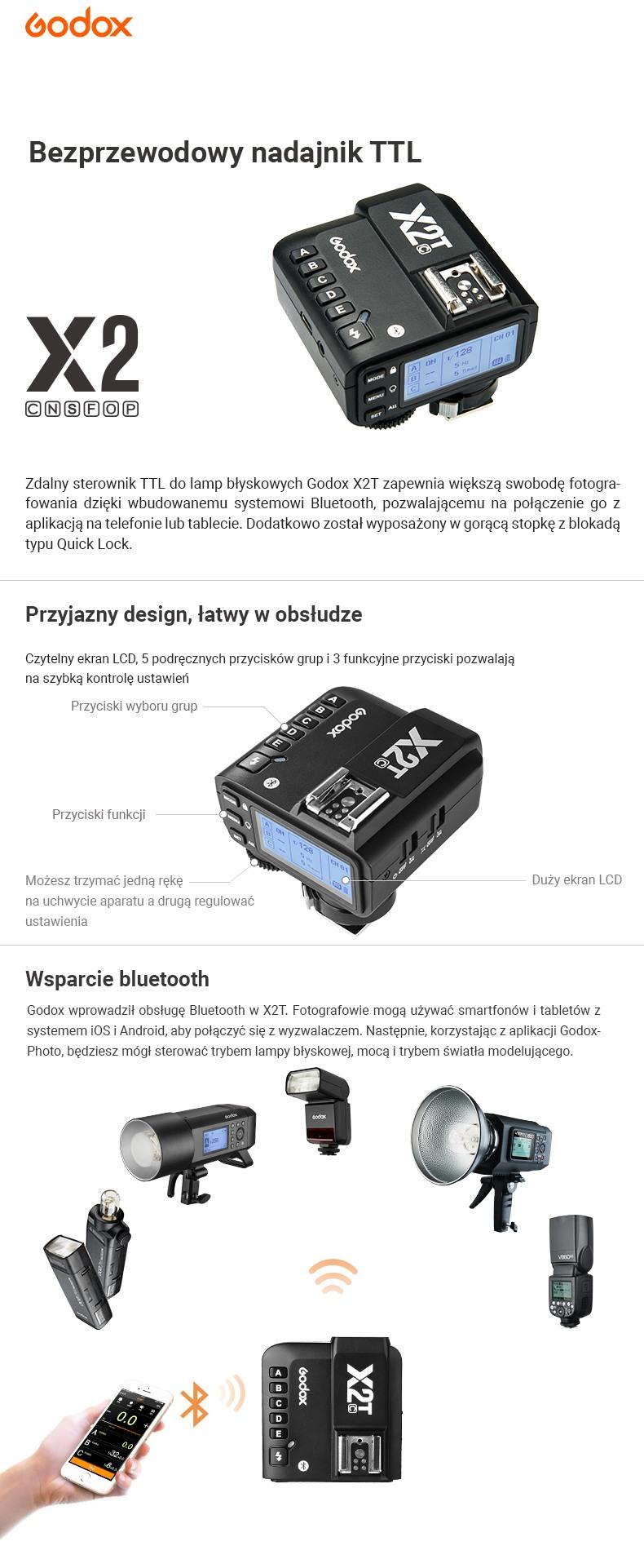 Godox Bezprzewodowy nadajnik TTL X2 pasuje do Canon, Nikon, Sony, Fujifilm, Olympus, Panasonic. Przyjazny design i łatwy w obsłudze. Wsparcie Bluetooth.