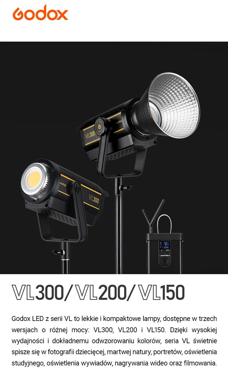 Godox LED z serii VL VL300 VL200 VL150 . Wysoka wydajność i dokładne odwzorowanie kolorów. Do fotografii dziecięcej, martwej natury, portretów, oświetlenia studyjnego, oświetlenia wywiadów, nagrywania wideo oraz filmowania.