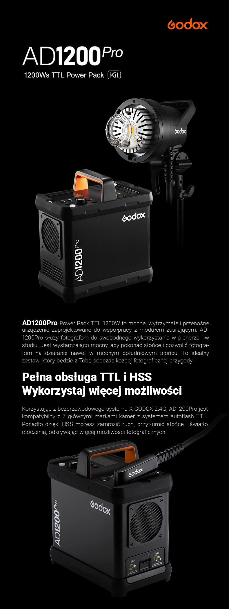 Godox AD1200Pro TTL Power Pack Kit Zestaw. Mocne, wytrzymałe i przenośne urządzenie zaprojektowane do współpracy z modułem zasilającym. Pełna obsługa TTL i HSS. Wykorzystaj więcej możliwości. Bezprzewodowy Godox X 2.4G