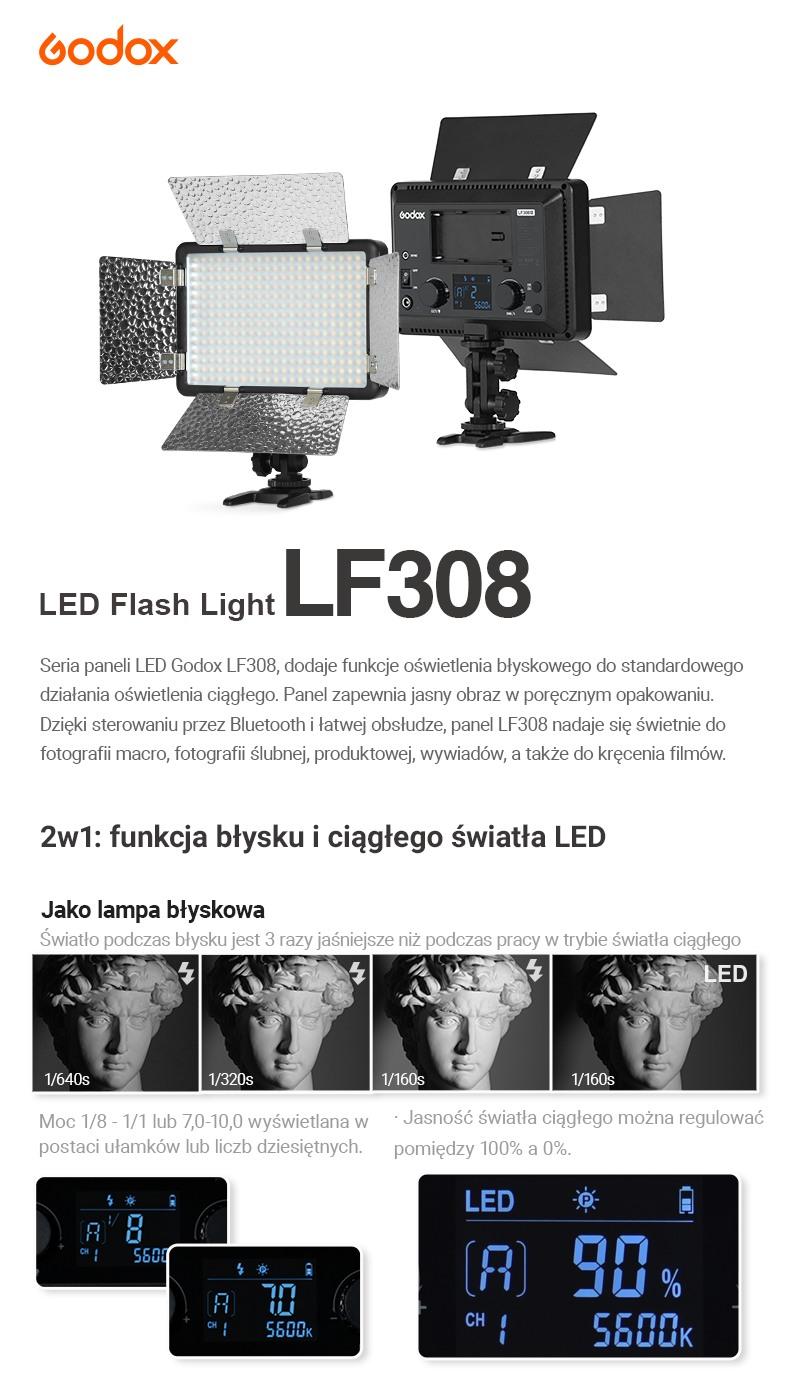Godox LED Flash Light Panel Światło LED LF308. 2w1 funkcja błysku i światła ciągłego LED. Czytelny panel LCD